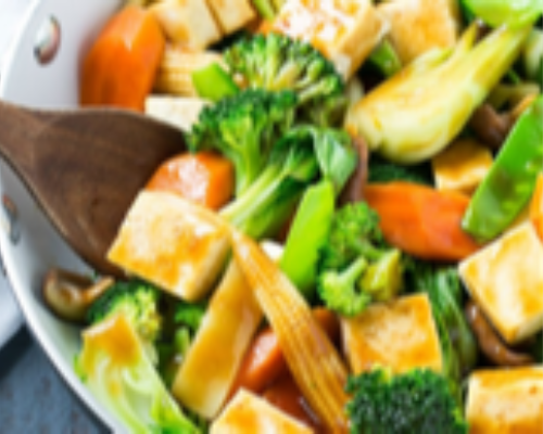 Mix Vegetable With Tofu With Bean Sprouts